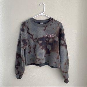 Alpha Chi Omega Bleach Dyed Cropped Sweatshirt